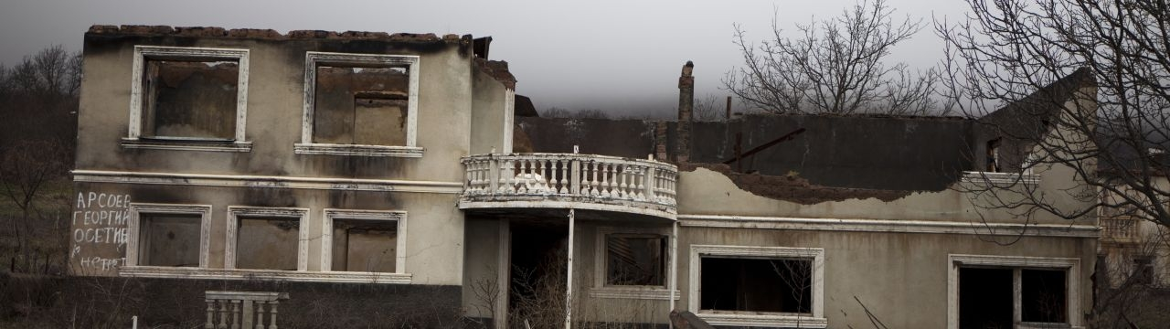 A destroyed village in South Ossetia