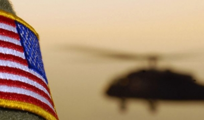 Close-up of a US Flag patch as a US Army (USA) UH-60A Black Hawk (Blackhawk) helicopter