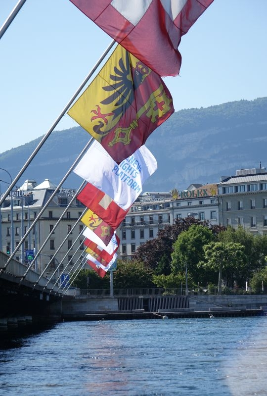 Flags of the Geneva Human Rights Platform on the Mont Blanc Bridge