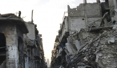 Syria, Homs. A view of the badly damaged center of the city.