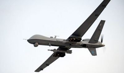 A RAF Reaper UAV (Unmanned Aerial Vehicle) is pictured airborne over Afghanistan during Operation Herrick.