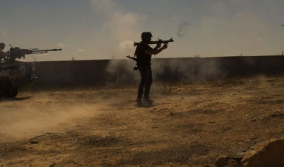 Fighters firing rockets in Libya