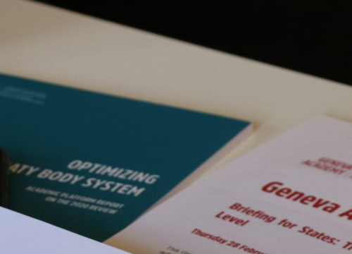 Papers related to the Geneva Human Rights Platform on a table