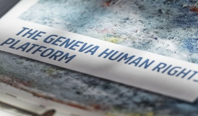 Photo of a flyer of the Geneva Human Rights Platform