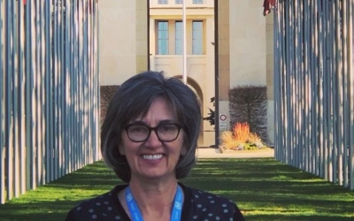 Lisa Borden in Front of the Palais des Nations in Geneva