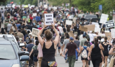 Protest march against police violence in Minneapolis