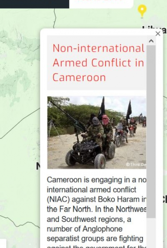 Map of the RULAC online portal with the pop-up window on the non-international armed conflicts in Cameroon