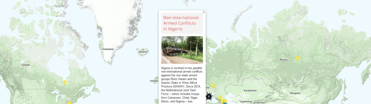 Map of the RULAC online portal with the pop-up window showing the NIACs in Nigeria.