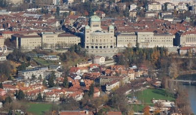 Aerial view of the Palais Federal in Bern
