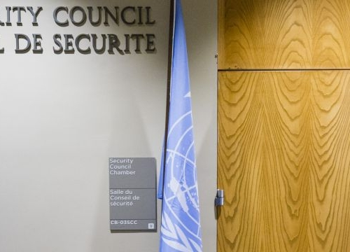 A man enters the room of the UN Security Council