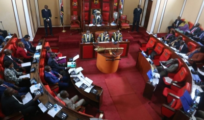 Members of Parliament from the Hirshabelle State of Somalia, following proceedings during a courtesy visit to the Machakos County Assembly, Kenya