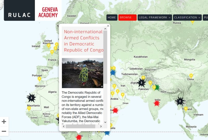 Map of the RULAC online portal with the pop-up window of the non-international armed conflict in DRC