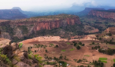Aerial view of the mountains in the Tigray region, Ethiopia
