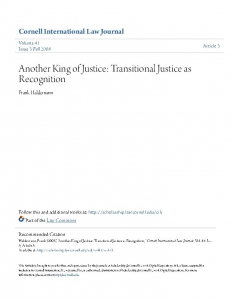 Cover of Another Kind of Justice: Transitional Justice as Recognition