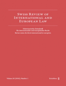 Cover of Swiss Review of International Law