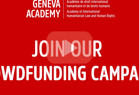 Geneva Academy Crowdfunding Campaign 2021 - Thomas Unger